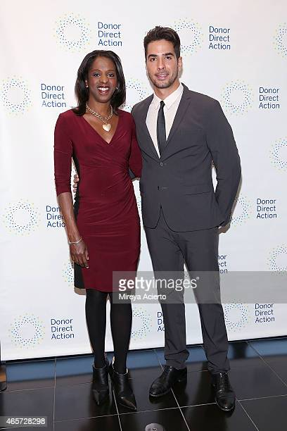 Broadcast journalist Stacey Tisdale and photographer Javier Gomez attends the Donor Direct Action launch party at Ford Foundation on March 9 2015 in...