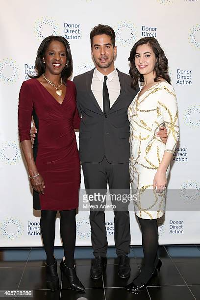 Broadcast journalist Stacey Tisdale photographer Javier Gomez and journalist Caroline Tehrani attend the Donor Direct Action launch party at Ford...