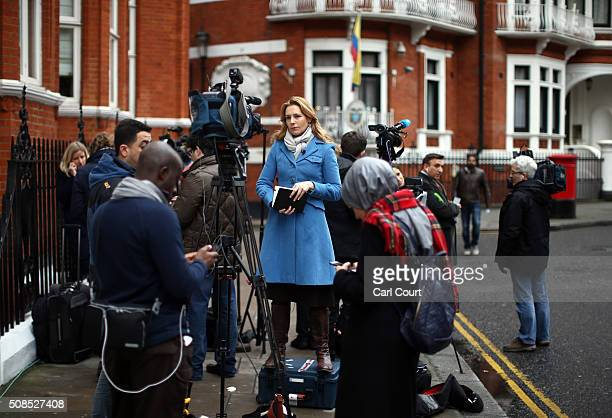 A broadcast journalist works outside the Ecuadorian embassy where Wikileaks founder Julian Assange continues to seek asylum following an extradition...