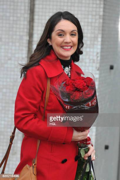 Broadcast meteorologist Laura Tobin seen at the ITV Studios with Valentine Day Roses on February 14 2017 in London England