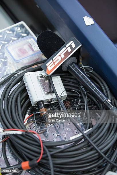 A broadcast microphone marked with the ESPN television network logo before the game between the Syracuse Orange and the Wisconsin Badgers on December...