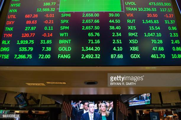 A broadcast of Facebook CEO Mark Zuckerberg testifying on Capital Hill is televised on the floor at the closing bell of the Dow Industrial Average at...