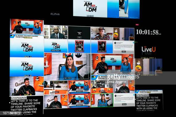 A broadcast of the live recording of of BuzzFeed News' AM To DM morning show is displayed on a monitor in the control room at Buzzfeed headquarters...