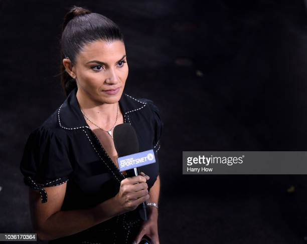 Broadcaster Alanna Rizzo before the game between the Colorado Rockies and the Los Angeles Dodgers at Dodger Stadium on September 18 2018 in Los...
