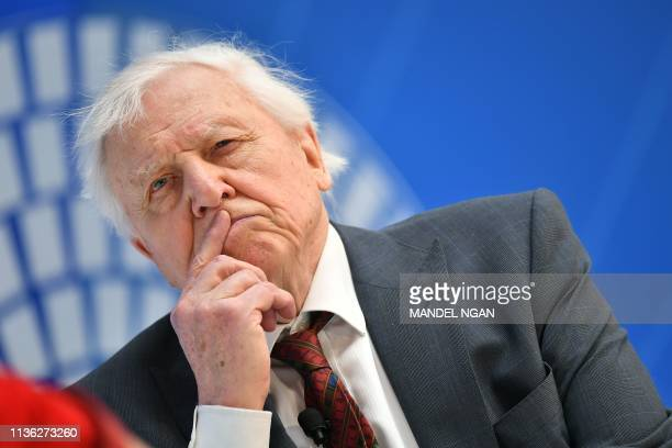 Broadcaster and natural historian David Attenborough takes part in a discussion on nature and the economy during the IMF World Bank Spring Meetings...