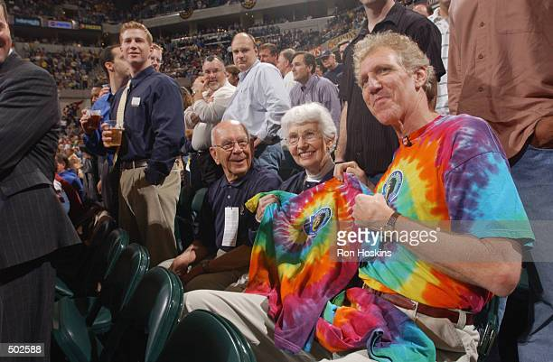 NBC broadcaster Bill Walton sits with David Letterman's mother before game four of the Eastern Conference Quarterfinals during the 2002 NBA Playoffs...