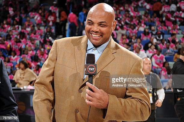 Broadcaster Charles Barkley of TNT smiles prior to the start of the TMobile Rookie Challenge Youth Jam part of 2008 NBA AllStar Weekend at the New...