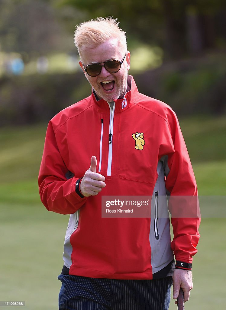 Broadcaster Chris Evans gives the thumbs up during the Pro-Am ahead of the BMW PGA Championship at Wentworth on May 20, 2015 in Virginia Water, England.