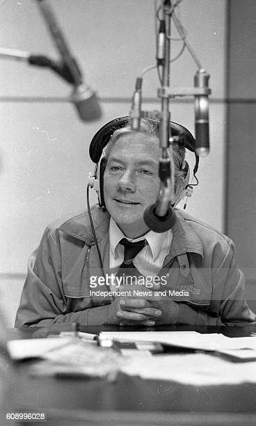 Broadcaster Gay Byrne on the air from Studio 5 in RTE's Radio Complex in Donnybrook, Dublin, .