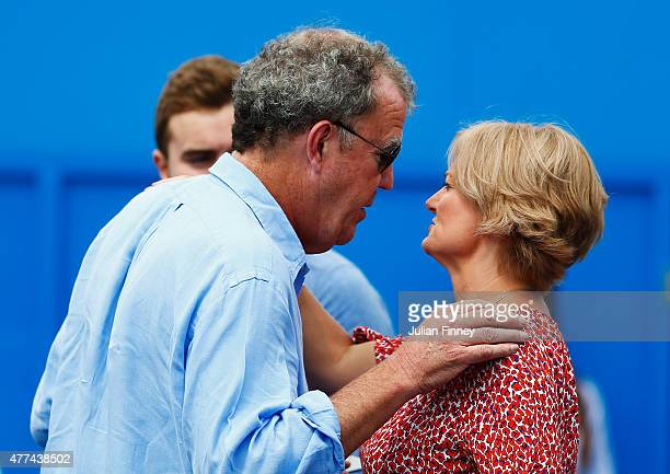 Broadcaster Jeremy Clarkson greets Alice Beer after watching the match between Gilles Simon of France and Thanasi Kokkinakis of Australia during day...