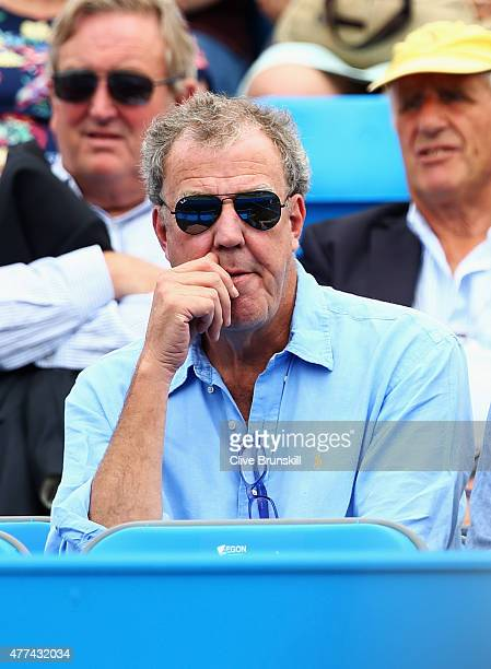 Broadcaster Jeremy Clarkson watches the match between Gilles Simon of France and Thanasi Kokkinakis of Australia during day three of the Aegon...