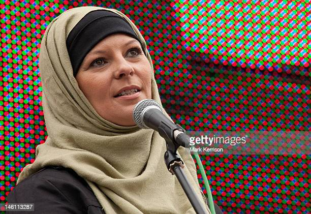Broadcaster, journalist and activist Lauren Booth addresses Stop The War Coalition's Anti-War Assembly in Trafalgar Square on the 10th anniversary of...