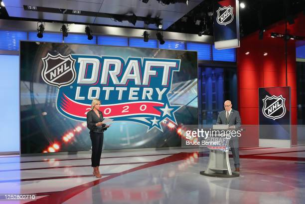 Broadcaster Kathryn Tappen and National Hockey League Deputy Commissioner Bill Daly announce draft positions during Phase 1 of the 2020 NHL Draft...