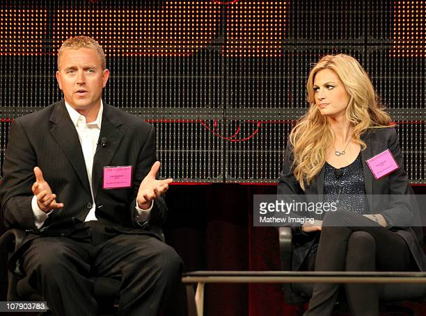 Broadcaster Kirk Herbstreit and ESPN reporter Erin Andrews attend the ESPN Winter 2011 TCA Panel at the Langham Hotel on January 5 2011 in Pasadena...