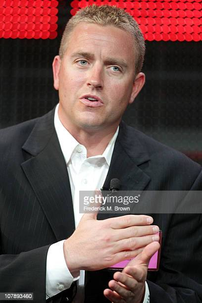 Broadcaster Kirk Herbstreit speaks onstage during the BCS Title Game panel at the ESPN portion of the 2011 Winter TCA press tour held at the Langham...