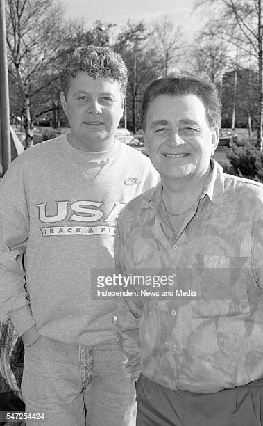 Broadcaster Larry Gogan and his son, Gerry, at RTE Radio Centre, , Pic: Kevin Clancy, , 393-497 . .