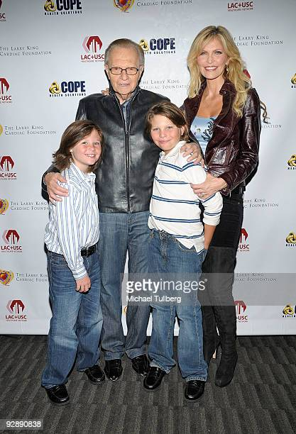 Broadcaster Larry King arrives with wife Shawn and sons Cannon and Chase at the 'Heart Soul An Evening of High Comedy and Low Cholesterol' benefit...