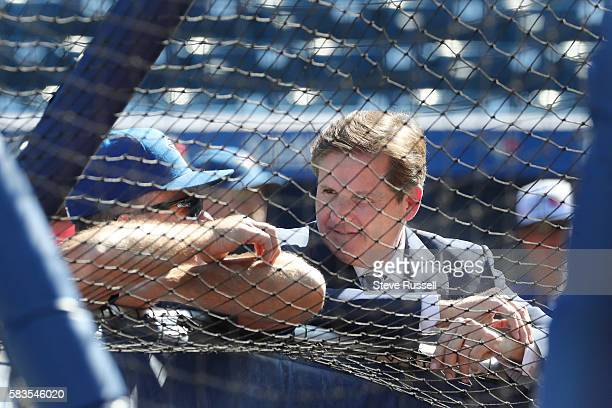 Broadcaster Matt Devlin talks with Toronto Blue Jays manager John Gibbons scrum as the Toronto Blue Jays play the San Diego Padres at the Rogers...