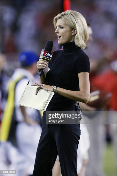 Broadcaster Melissa Stark of ABC reports from the sideline during the NFL game between the St Louis Rams and the Tampa Bay Buccaneers on September 23...