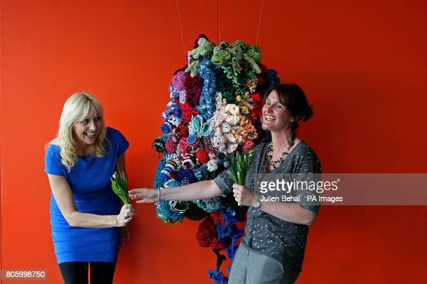 Broadcaster Miriam O' Callaghan and Big Brother star Anna Nolan pose with snowdrops at the launch of Console's National Snowdrop Campaign in aid of...