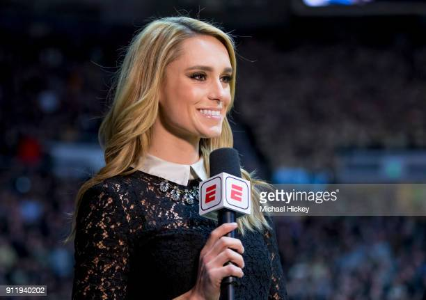 ESPN broadcaster Molly McGrath is seen during the Purdue Boilermakers verses Wisconsin Badgers game at Mackey Arena on January 16 2018 in West...