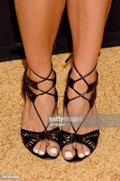 ESPN broadcaster Molly McGrath shoe detail attends the LA premiere of HBO's Hard Knocks Training Camp With The Los Angeles Rams at Regal LA Live...