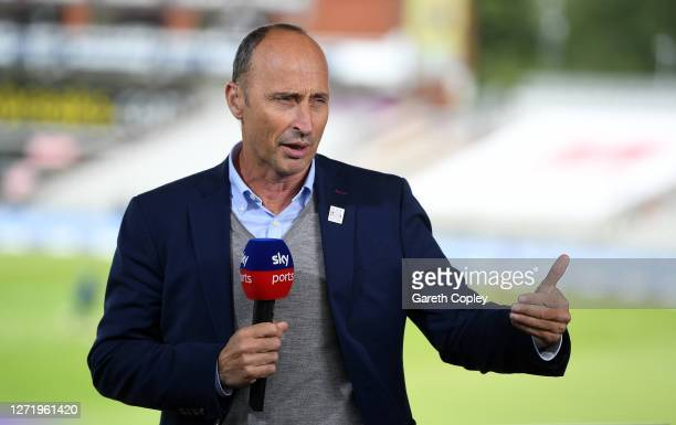 Broadcaster Nasser Hussain working for Sky Sports during the 1st Royal London One Day International Series match between England and Australia at...