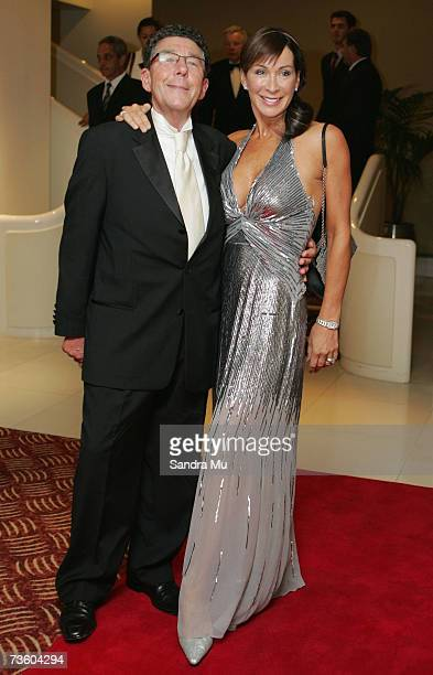 Broadcaster Paul Holmes and dancing with the stars cohost Candy Lane arrive at the Pearl Of The Pacific Charity Gala Dinner at the Hyatt Regency on...