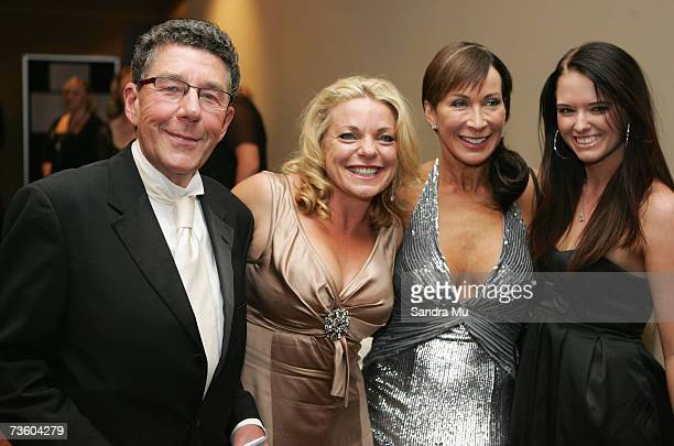 Broadcaster Paul Holmes radio personality Kerre Woodham dancing with the stars cohost Candy Lane and dancer Rebecca Nicholson arrive at the Pearl Of...