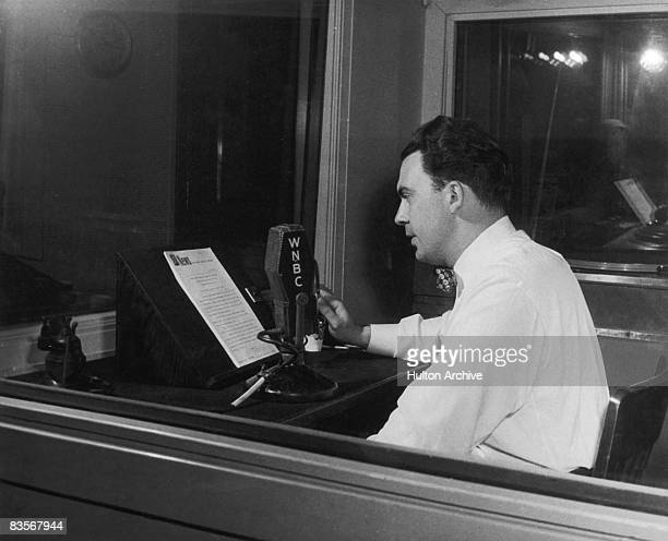 A broadcaster reads the news at a WNBC radio studio in New York circa 1950 The station is part of the NBC Radio Network