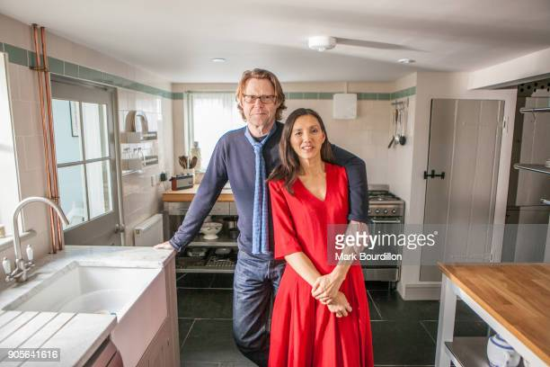 Broadcaster Robert Elms and his wife are photographed for the Sunday Times on November 13 2016 in Beccles England