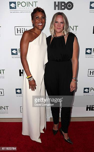 Broadcaster Robin Roberts and partner Amber Laign attend the 2016 Point Honors Los Angeles Gala at The Beverly Hilton Hotel on October 1 2016 in...