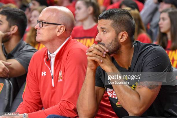 ESPN broadcaster Scott Van Pelt sits with former Maryland Terrapins star and NBA player Greivis Vasquez on January 28 at Xfinity Center in College...