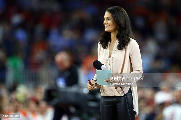 Broadcaster Tracy Wolfson is on the court after the NCAA Men's Final Four Semifinal at NRG Stadium on April 2 2016 in Houston Texas