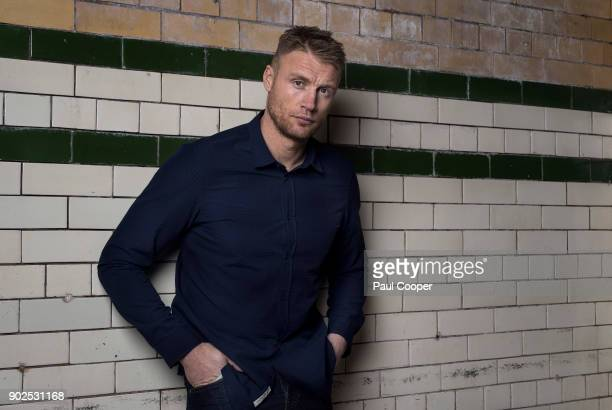Broadcaster TV panelist and former England International cricketer Andrew Flintoff is photographed for the Telegraph on November 8 2016 in London...