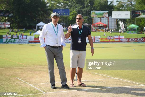 Broadcasters and former England players David 'Bumble' Lloyd and Darren Gough pictured chatting before Day One of the Third Test match between Sri...