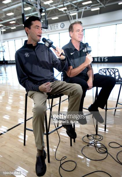 Broadcasters Chris Carrino and Tim Capstraw of the Brooklyn Nets are seen during practice on September 27, 2018 at HSS Training Center in Brooklyn,...