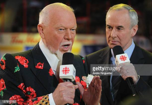 V broadcasters Don Cherry and Ron MacLean cover the 2012 Tim Hortons NHL AllStar Game at Scotiabank Place on January 29 2012 in Ottawa Ontario Canada