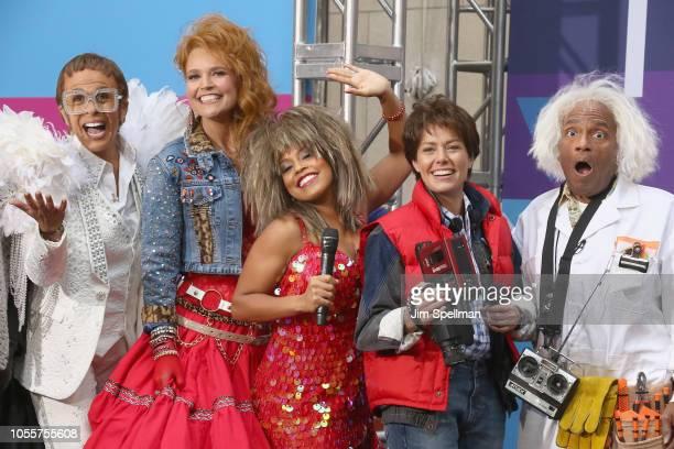 Broadcasters Hoda Kotb Savannah Guthrie Sheinelle Marie Jones Dylan Dreyer and Al Roker attend the NBC Today Halloween 2018 at Rockefeller Plaza on...