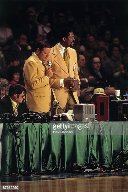 ABC Broadcasters Keith Jackson and Bill Russell call a Boston Celtics game played in 1972 at the Boston Garden in Boston Massachusetts NOTE TO USER...