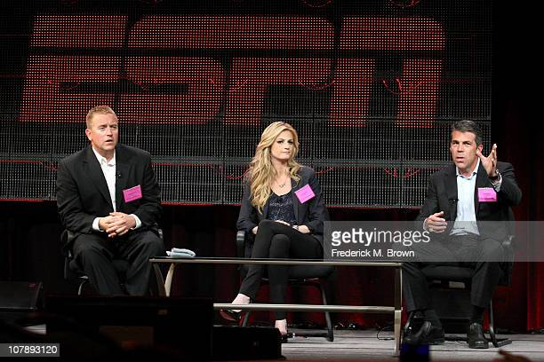 Broadcasters Kirk Herbstreit Erin Andrews and Chris Fowler speak onstage during the BCS Title Game panel at the ESPN portion of the 2011 Winter TCA...
