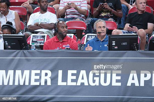 Broadcasters Mateen Cleaves and Vince Cellini announce the game between the Minnesota Timberwolves and the Chicago Bulls at the Samsung NBA Summer...