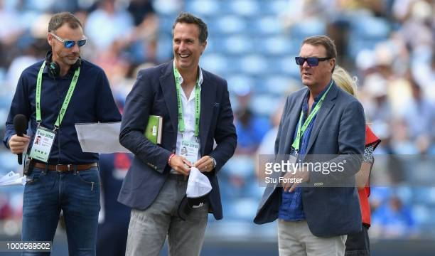 Broadcasters Michael Vaughan and Phil Tufnell react after spotting India bowler Kuldeep Yadav before 3rd ODI Royal London One Day match between...