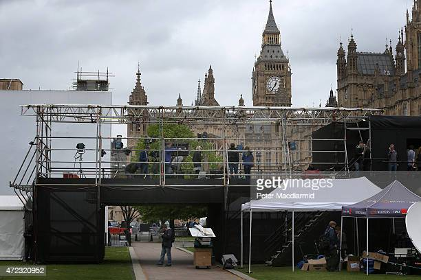 Broadcasters prepare for the general election results outside Parliament on May 6 2015 in London England Britain's political leaders are campaigning...