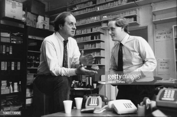 Broadcasters Roger Mosey and James Naughtie in conversation photographed for Radio Times in connection with the BBC Radio 4 program 'The World at...