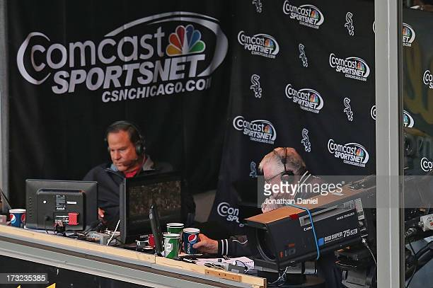 """Broadcasters Steve Stone and Ken """"Hawk"""" Harrelson call a game between the Chicago White Sox and the Oakland Athletics at U.S. Cellular Field on June..."""