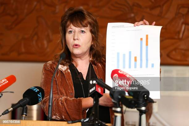 Broadcasting Communications and Digital Media Minister Clare Curran speaks during a media conference at Radio New Zealand on July 11 2018 in...