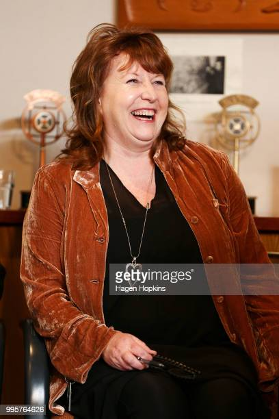 Broadcasting Communications and Digital Media Minister Clare Curran looks on during a media conference at Radio New Zealand on July 11 2018 in...