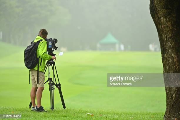 Broadcasting crew is seen during the second round of the Earth Mondamin Cup at the Camellia Hills Country Club on June 26, 2020 in Sodegaura, Chiba,...
