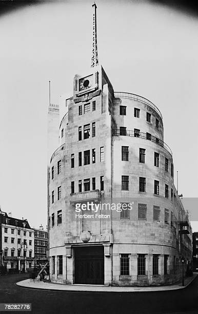Broadcasting House, the headquarters of the BBC in Portland Place, London, circa 1932.